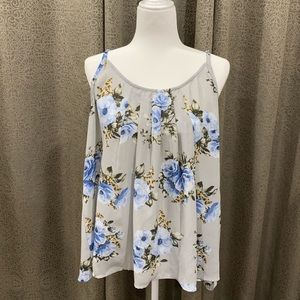 TORRID Gray and Blue Floral Blouse